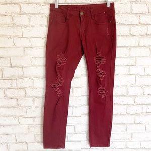 Machine Burgundy Distressed Mid Rise Skinny Jeans